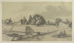 'Miscellaneous Series. Plate.40.'   Panorama of the temples at Khajuraho with notes indicating their names. Kalinjar Series.